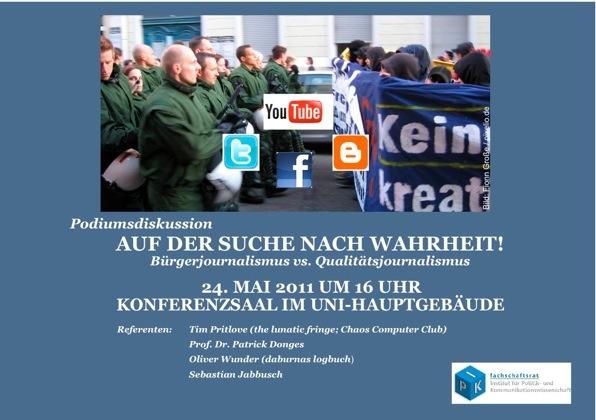"""Flyer Podiumsdiskussion """"Bürgerjournalismus contra Qualitätsjournalismus"""""""