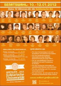 Plakat zur Senatswahl 2012 von der Liste Solidarische Uni